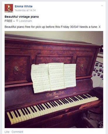 A piano recently posted on the page.