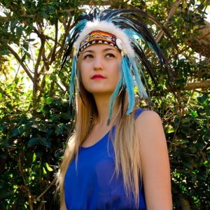 monica in headdress